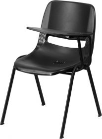 Black Ergonomic Shell Chair with Left Handed Flip-Up Tablet Arm [RUT-EO1-BK-LTAB-GG]