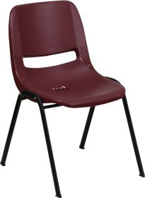 HERCULES Series 880 lb. Capacity Burgundy Ergonomic Shell Stack Chair [RUT-EO1-BY-GG]