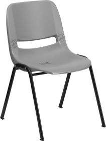 HERCULES Series 880 lb. Capacity Gray Ergonomic Shell Stack Chair [RUT-EO1-GY-GG]