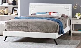 Ruthie Platform Bed with Round Splayed Legs in White