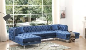 Salma Traditional Sectional Sofa in Blue