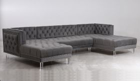 Salma Traditional Sectional Sofa in Gray