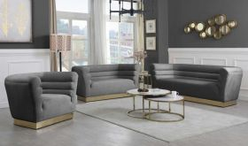 Saluzzo Contemporary Living Room Set in Gray