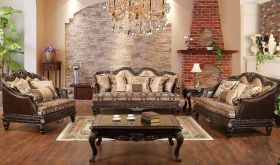 San Traditional Living Room Set in Brown & Cream