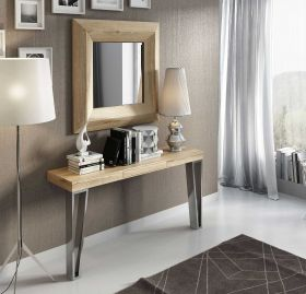 Santander Modern Console Table in Oak & Old Silver