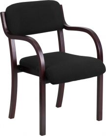 Contemporary Black Fabric Wood Side Chair with Mahogany Frame [SD-2052A-MAH-GG]