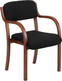 Contemporary Black Fabric Wood Side Chair with Walnut Frame [SD-2052A-WAL-GG]