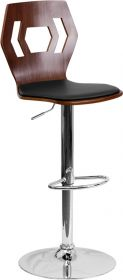 Walnut Bentwood Adjustable Height Barstool with Black Vinyl Seat and Cutout Back [SD-2162-WAL-GG]