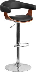 Walnut Bentwood Adjustable Height Barstool with Black Vinyl Upholstery [SD-2178-2-WAL-GG]