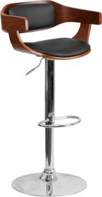Walnut Bentwood Adjustable Height Barstool with Black Vinyl Upholstery [SD-2179-WAL-GG]