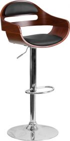 Walnut Bentwood Adjustable Height Barstool with Black Vinyl Seat and Cutout Padded Back [SD-2199-WAL-GG]