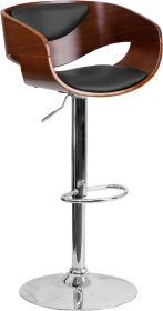 Walnut Bentwood Adjustable Height Barstool with Black Vinyl Upholstery [SD-2200-WAL-GG]