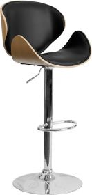 Beech Bentwood Adjustable Height Barstool with Curved Black Vinyl Seat and Back [SD-2203-BEECH-GG]