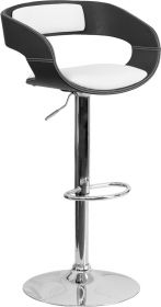 Bentwood Two Tone Black & White Black Vinyl Adjustable Height Barstool [SD-2207-GG]