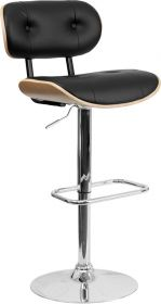 Beech Bentwood Adjustable Height Barstool with Button Tufted Black Vinyl Upholstery [SD-2228-BEECH-GG]