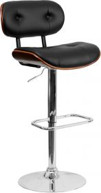 Walnut Bentwood Adjustable Height Barstool with Button Tufted Black Vinyl Upholstery [SD-2228-WAL-GG]
