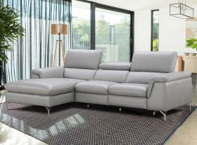 J&M Serena Premium Leather Sectional Sofa in Light Grey with Left Facing Chaise