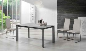 ESF Seven Dining Table with Quatro Dining Chair Dining Set in Gray & Beige