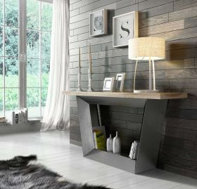 Seville Modern Console Table in Oak & Old Silver