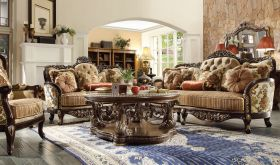 Shelby Traditional Living Room Set in Beige & Brown