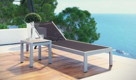 Shore 2 Piece Outdoor Patio Aluminum Set in Silver Black