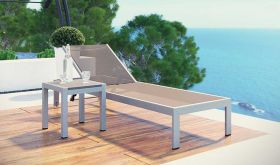 Shore 2 Piece Outdoor Patio Aluminum Set in Silver Gray