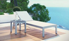 Shore 2 Piece Outdoor Patio Aluminum Set in Silver White