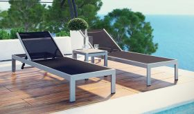 Shore 3 Piece Outdoor Patio Aluminum Set in Silver Black