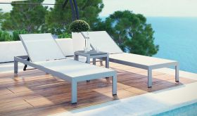 Shore 3 Piece Outdoor Patio Aluminum Set in Silver White