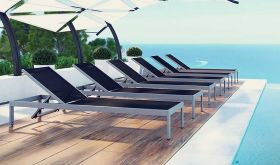 Shore Outdoor Aluminum Patio Chaise in Silver Black (Set of 6)