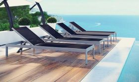 Shore Outdoor Patio Aluminum Chaise in Silver Black (Set of 4)