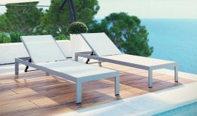 Shore Outdoor Patio Aluminum Chaise in Silver White (Set of 2)