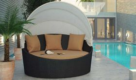 Siesta Canopy Outdoor Patio Daybed in Espresso Mocha