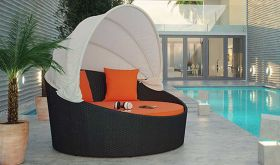 Siesta Canopy Outdoor Patio Daybed in Espresso Orange