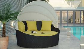 Siesta Canopy Outdoor Patio Daybed in Espresso Peridot