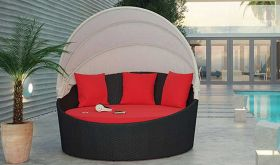 Siesta Canopy Outdoor Patio Daybed in Espresso Red