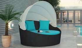 Siesta Canopy Outdoor Patio Daybed in Espresso Turquoise
