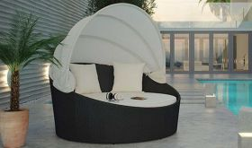 Siesta Canopy Outdoor Patio Daybed in Espresso White