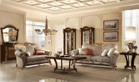 Sinfonia Contemporary Living Room Set in Gold & Gray, Brown