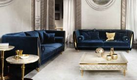 Sipario Contemporary Living Room Set in Gold & Blue, Beige, Purple