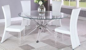 Sitka Casual Dining Room Set in Clear & White