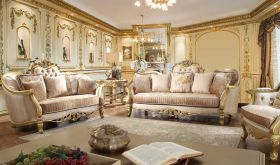 Snohomish Traditional Living Room Set in Gold & Champagne