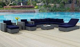 Sojourn 12 Piece Outdoor Patio Sunbrella Sectional Set in Canvas Navy