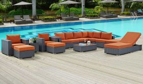 Sojourn 12 Piece Outdoor Patio Sunbrella Sectional Set in Canvas Tuscan