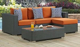 Sojourn 3 Piece Outdoor Patio Sunbrella Sectional Set with  Pillow Canvas Tuscan
