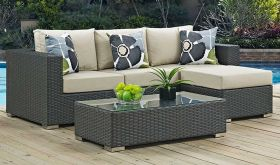 Sojourn 3 Piece Outdoor Patio Sunbrella Sectional Set with  Pillow in Canvas Antique Beige