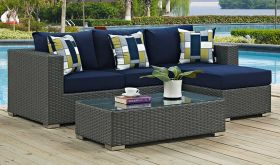 Sojourn 3 Piece Outdoor Patio Sunbrella Sectional Set with  Pillow in Canvas Navy