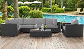Sojourn 7 Piece Outdoor Patio Wicker Rattan Sunbrella Sectional Set in Canvas Gray