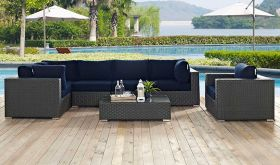 Sojourn 7 Piece Outdoor Patio Wicker Rattan Sunbrella Sectional Set in Canvas Navy