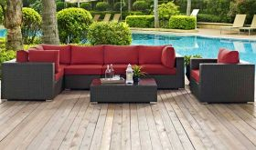 Sojourn 7 Piece Outdoor Patio Wicker Rattan Sunbrella Sectional Set in Canvas Red